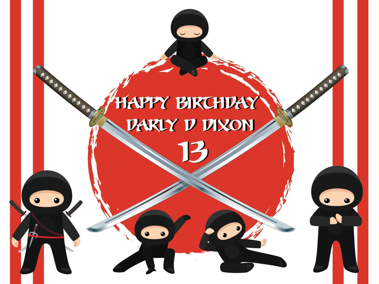 Custom Home Decor Five Ninjas and Swords Birthday Poster for Kids and Adults, Personalized Ninja Warriors Birthday Banner Wall Décor, Handmade Party ...