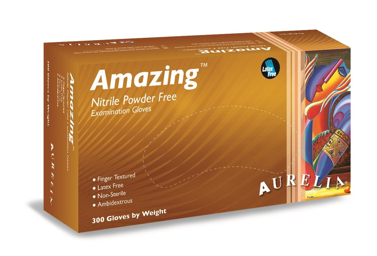 Aurelia Amazing 92886 Nitrile Glove, Exam, Powder Free, 2.0 Mil Thick, Small, Violet Color (10 Boxes of 300 Gloves)
