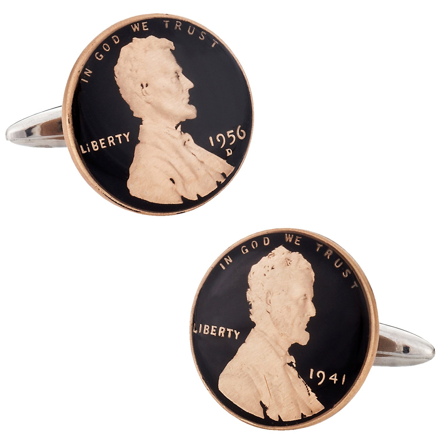 Cuff-Daddy Hand Painted Penny Coin Cufflinks Abraham Lincoln