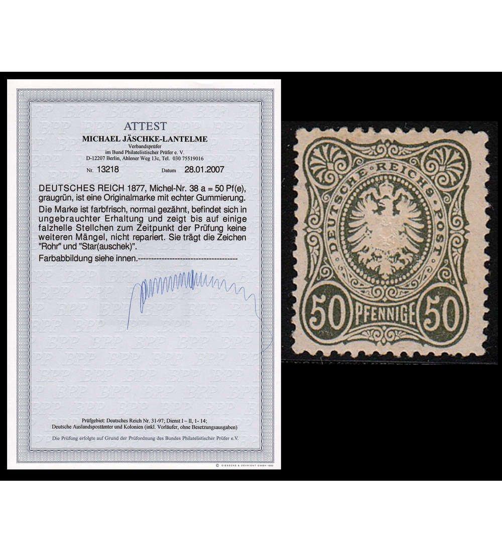 Goldhahn Deutsches Reich Nr. 38 ungestempelt mit Fotoattest Jäschke-Lantelme Briefmarken für Sammler