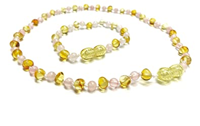 3b86da846e Amazon.com: Genuine Baltic Amber Necklace and Bracelet or Anklet ...