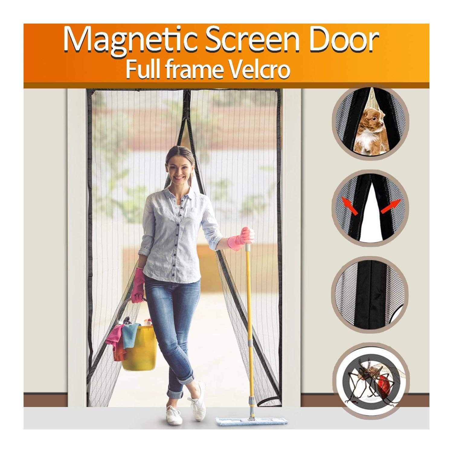 FYLINA Magnetic Screen Door Heavy Duty Mesh Curtain Screen and Full Frame Velcro, Top-to-Bottom Seal No Mosquitos - Fits Door Up To 34'' x 82'' MAX