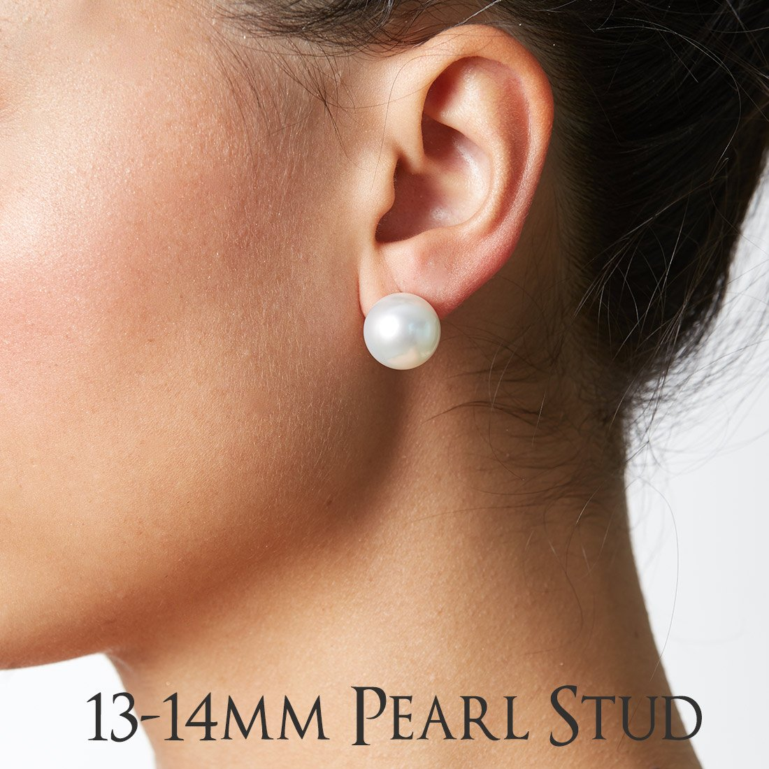 18K White South Sea Cultured Pearl and Diamond Bezel Dangle Earrings, 13.0-14.0mm - AAA Quality, 18K White Gold by Pure Pearls (Image #2)