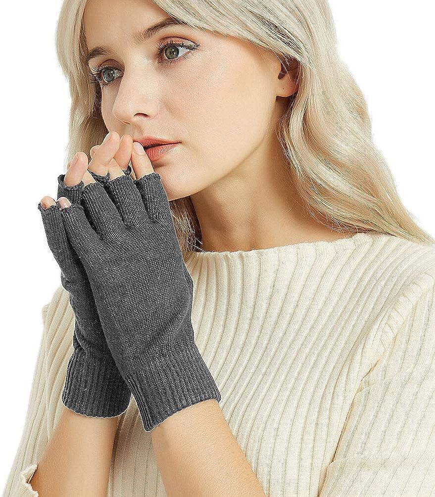 Novawo Cashmere Blend Fingerless Gloves Warm Arm Warmers