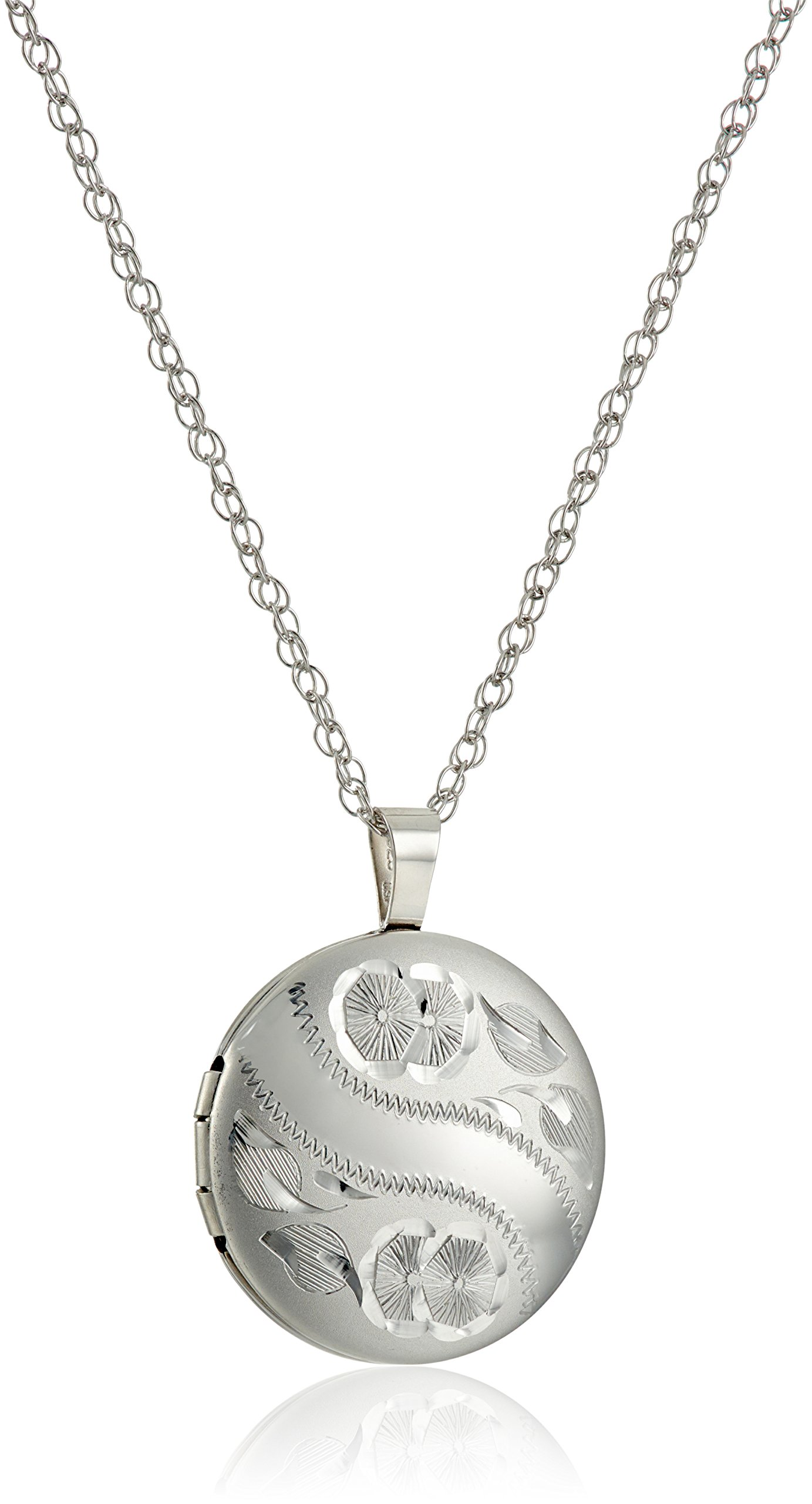Sterling Silver Hand Engraved Floral Round Locket Necklace, 18''
