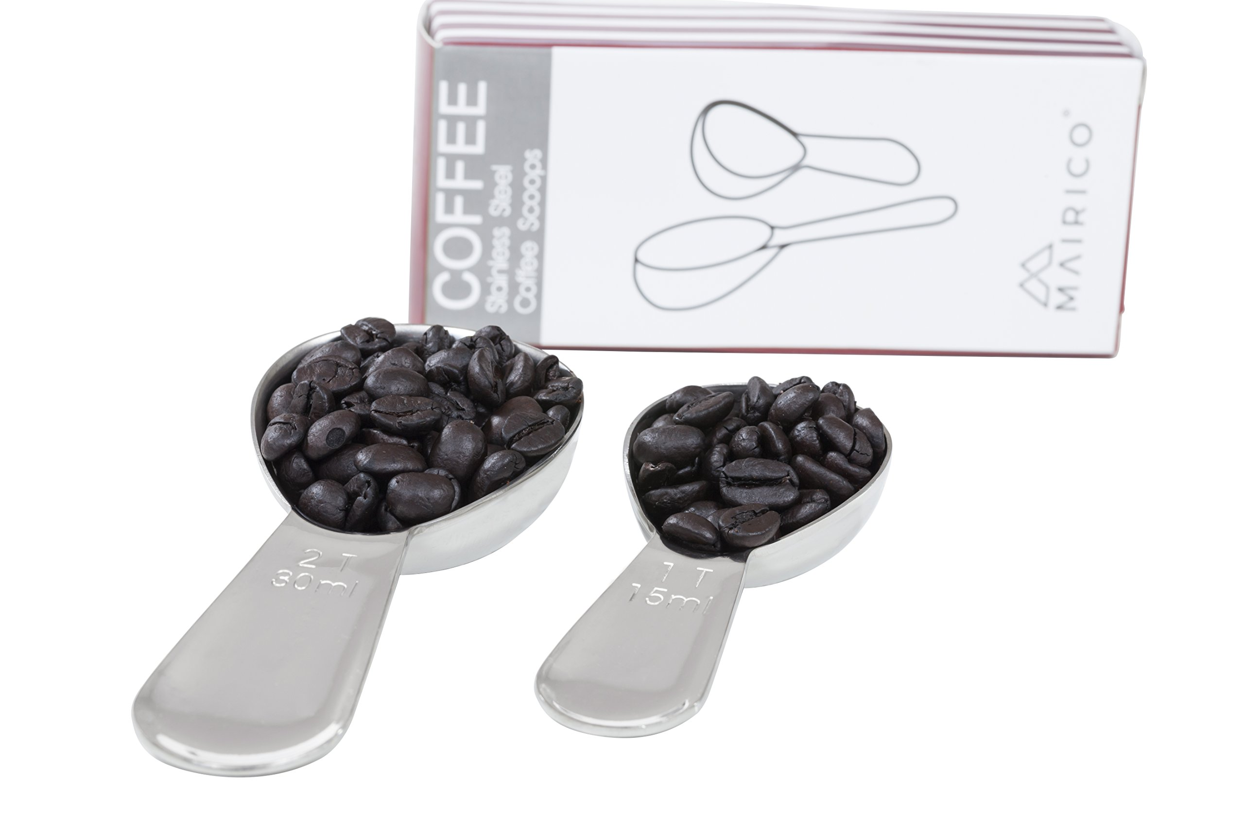 MAIRICO Premium Stainless Steel Measuring Coffee Scoops - 2 Tablespoons and 1 Tablespoon Coffee Scoops Set