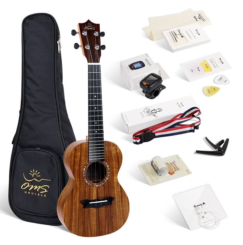 Enya OMS 04 Concert Ukulele Koa Top Bundle 23 Inch Ukelele with Padded Gig Bag, Strings, Tuner, Strap, Capo, Picks, Polishing cloth MUS-04