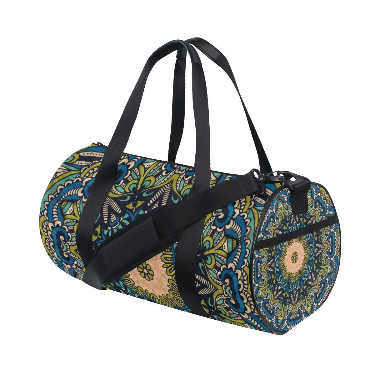 Mandala Bohemian Yoga Sports Gym Duffle Bags Tote Sling Travel Bag Patterned Canvas with Pocket and Zipper For Men Women Bag
