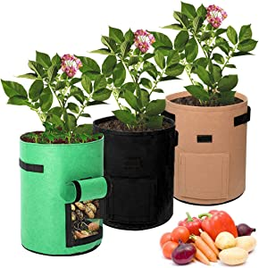 Plant Grow Bags 3 Pack 3 Gallon Garden Planting Box for Potato Thickened Non-Woven Fabric Vegetable Planting Bag Breathable and Easy to Harvest Plant Grow Bags