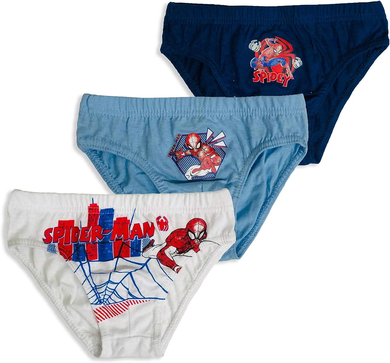 Slip 3 Pezzi Ufficiale Marvel Spiderman Bambino Shorties Mutandine Intimo 3158