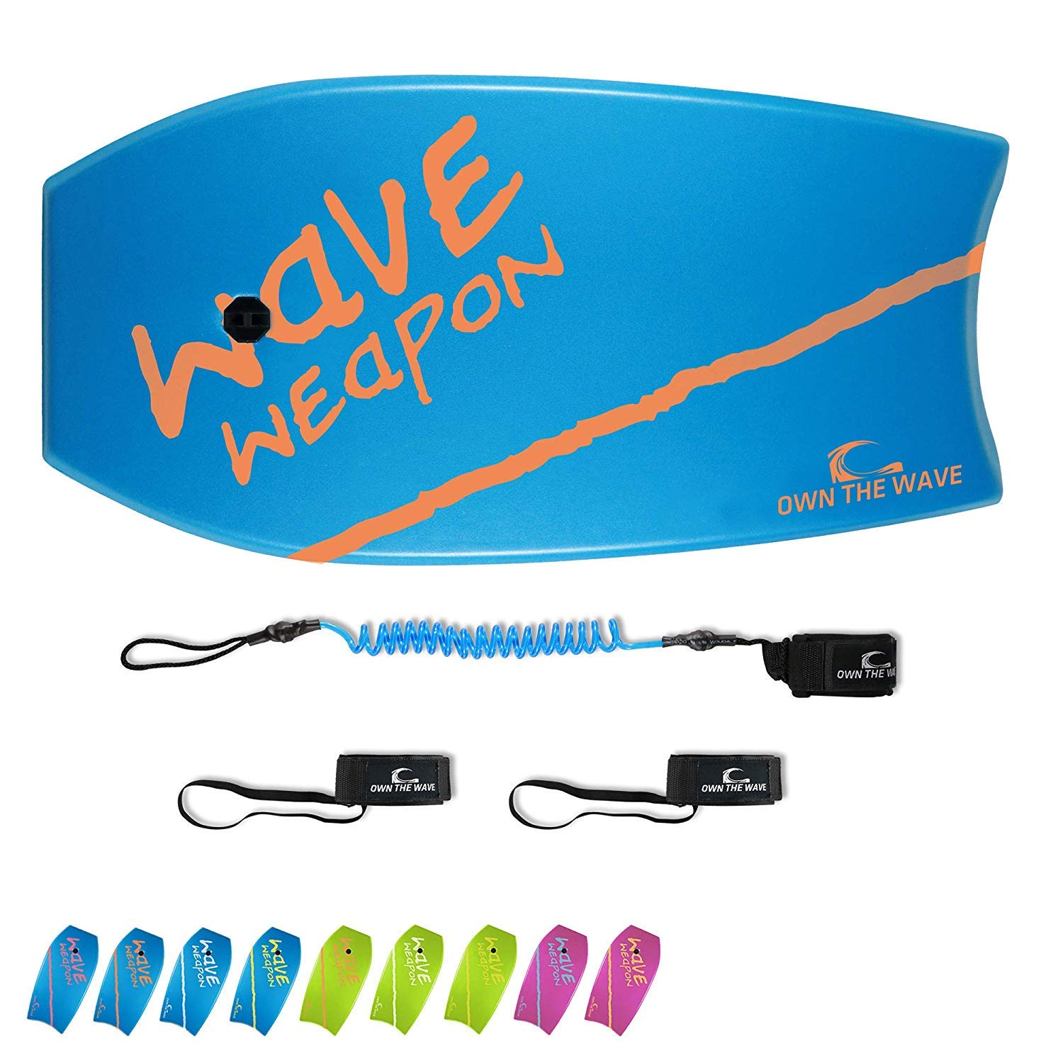 Own the Wave 33'' Body Board for Kids and Adults - HDPE Slick Bottom & EPS Core - Lightweight Body-Board for Beach and Surfing - Comes with Coiled Arm Leash and Fin Leash (Blue & Orange)