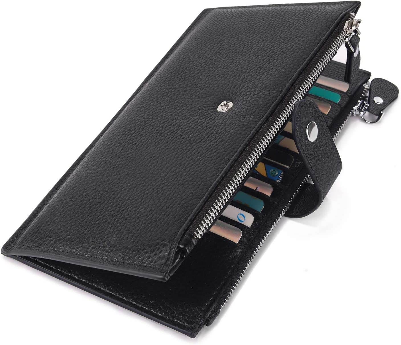 YALUXE Women-Wallet-Genuine-Leather-RFID Blocking Multi Slots Organizer with Zipper Pocket Credit Card Holder Bifold