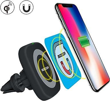 Cargador inalámbrico Qi coche adaptador de carga, mozeeda encendedor de cigarrillos magnético inalámbrico cargador de coche para móvil soporte de coche para iPhone X 8 Plus Samsung y Android Smartphone: Amazon.es: Electrónica