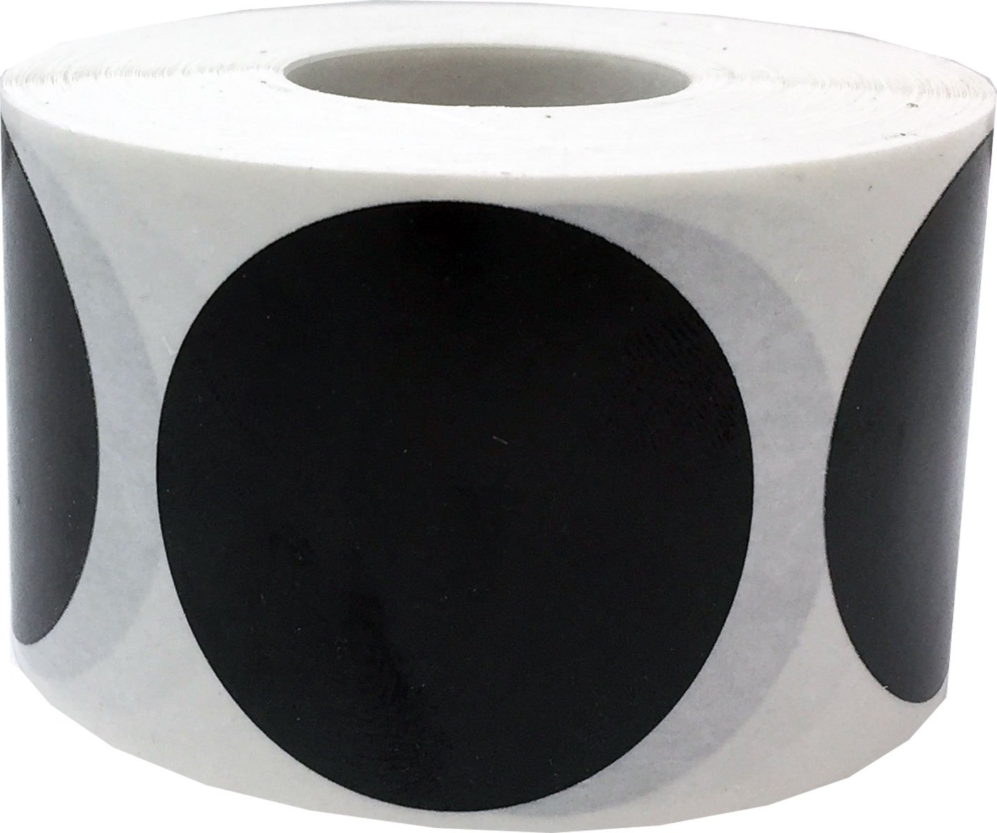 Black Circle Dot Stickers, 1.5 Inches Round, 500 Labels on a Roll