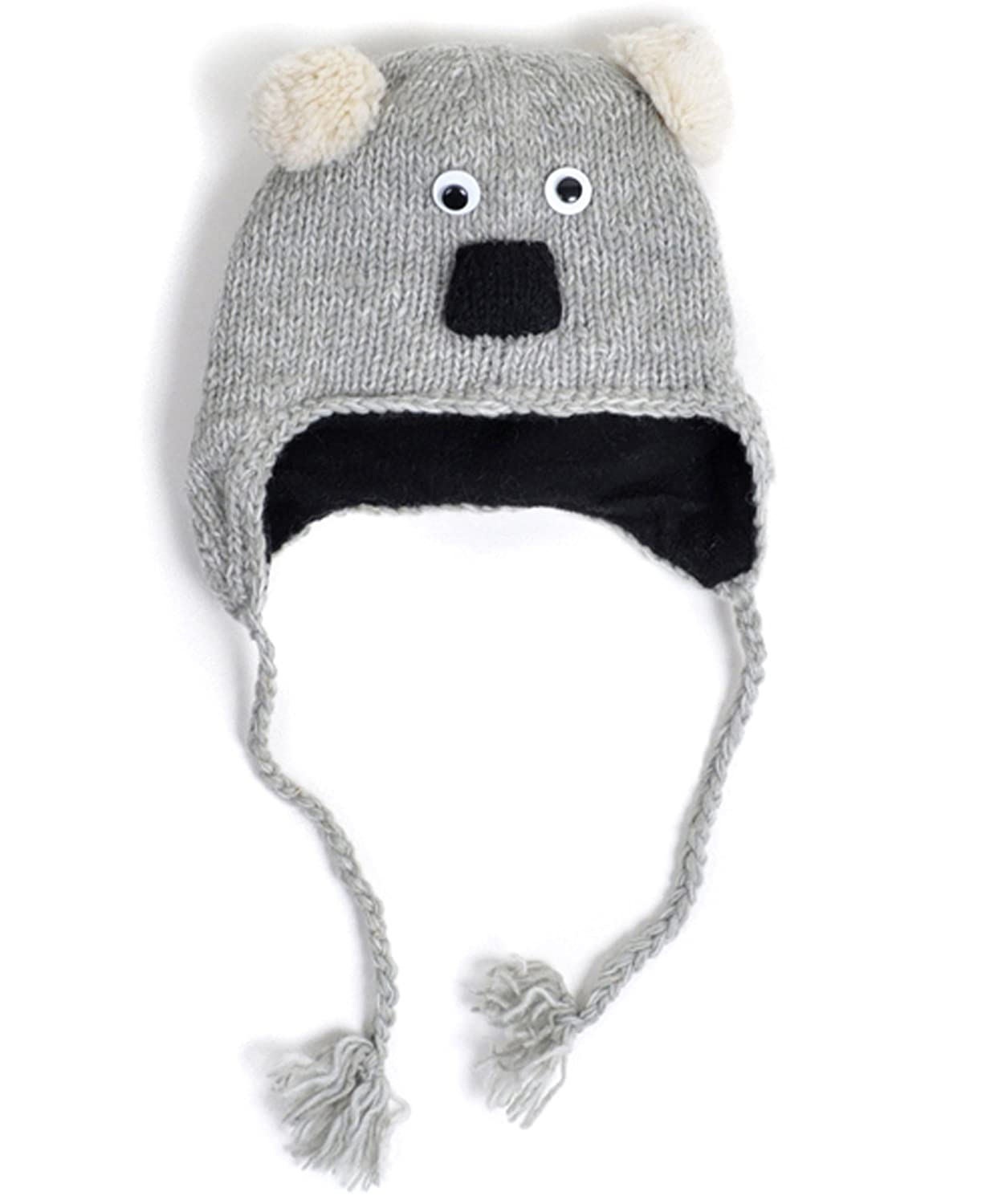 dbd4d27bc 100% Wool 'Hat-imals' Plush Knit Winter Hats (Wool Collection), Koala  (AHW005)