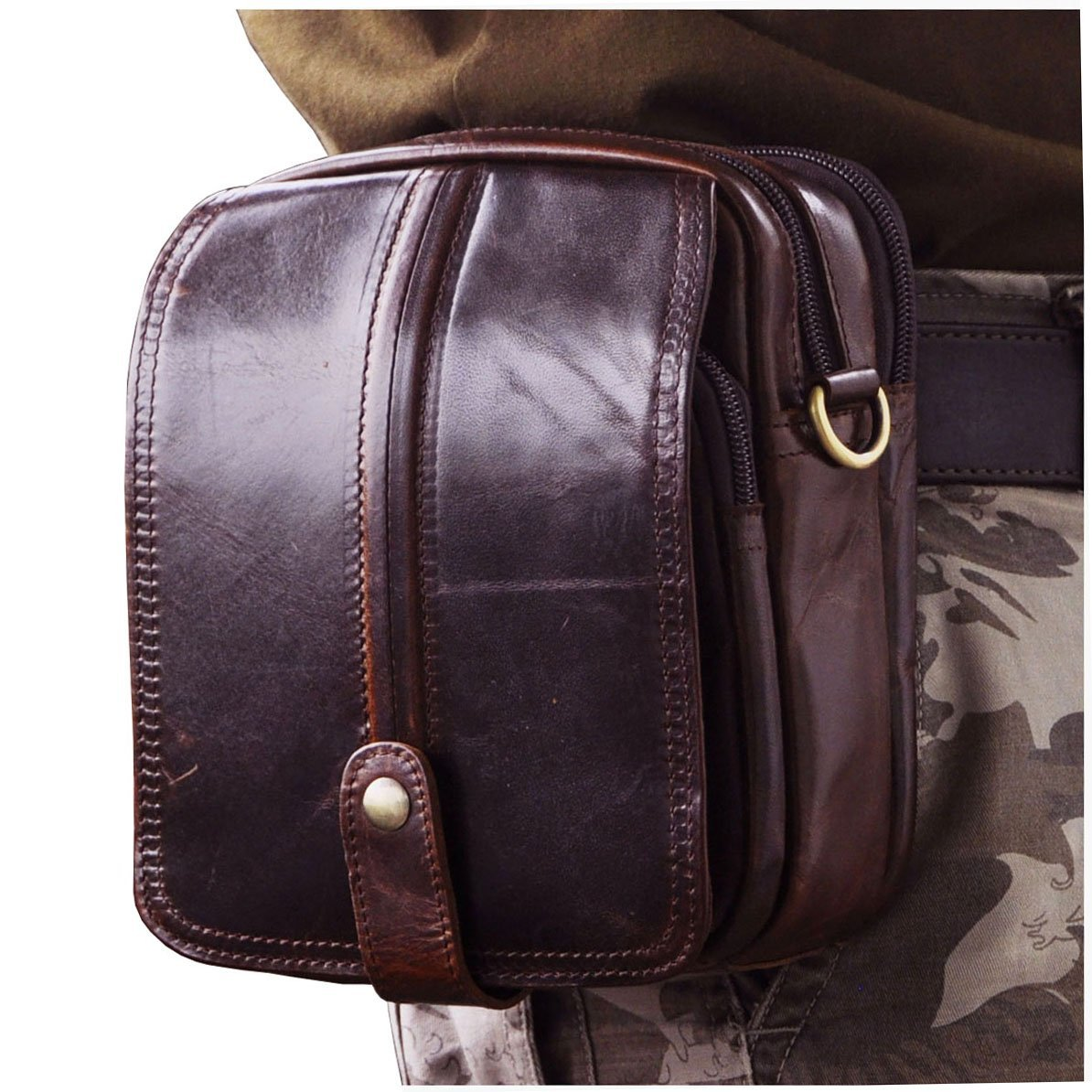 Le aokuu Men Leather Vintage Fanny Waist Belt Bag Pack Designer Casual 7 Messenger Crossbody Travel Bag 38043 38043 Coffee