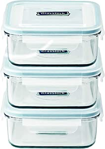 Glasslock Food-Storage Container with Locking Lids Microwave Safe 6pcs Set Square 17oz/490ml