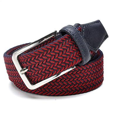 JUIHUGN Men Blue Elastic Stretch Waist Belt Canvas Stretch Braided Elastic Woven Leather Belt 1-3//8 Wide Hot Metal Stretch Belt for Men Black 115cm
