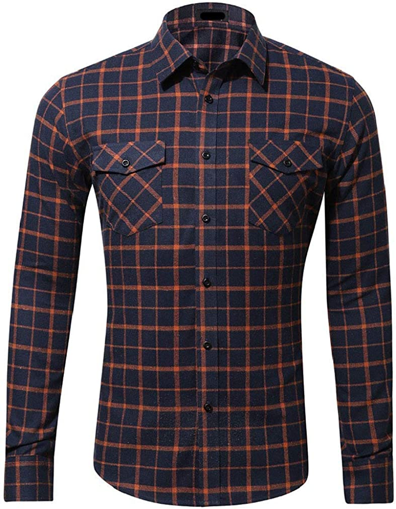 Comaba Mens Button Plaid Loose-Fit Pockets Cotton Blouses and Tops Shirts
