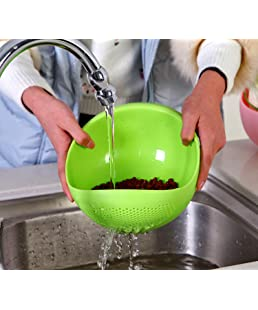 LUCKY BOX Plastic Grains Pulses Fruits Vegetable Noodles Pasta Rice Washing Bowl and Strainer with Handle Washer and Colanders , Standard Size, Assorted Colours