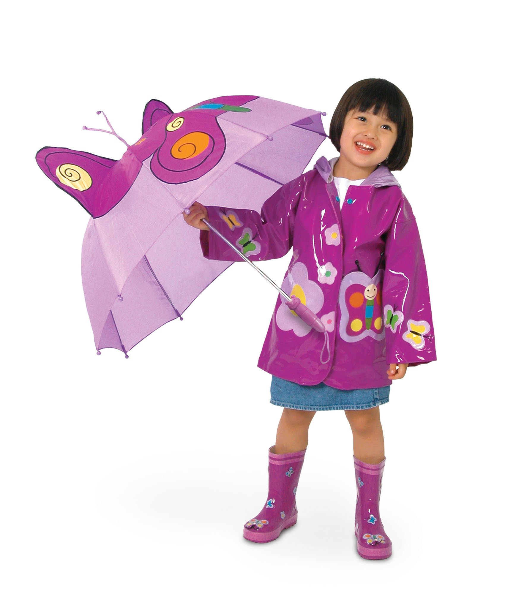 Kidorable Purple Butterfly Umbrella for Girls w/Fun Butterfly Handle, Pop-Up Wings, Antennae, 1 Size by Kidorable (Image #4)
