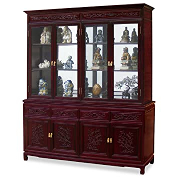 China Furniture Online Rosewood China Cabinet, 72 Inches Flower And Bird  Motif Display Cabinet Cherry