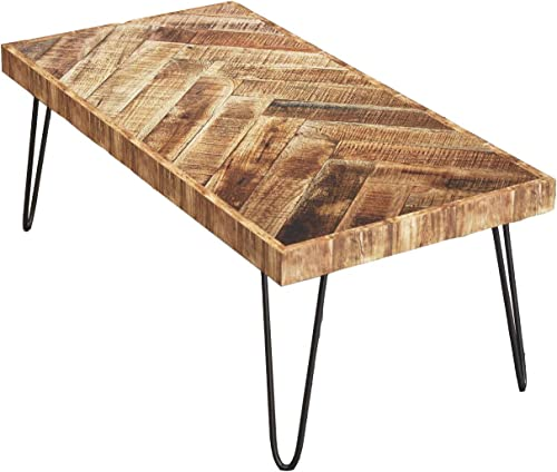 Mindful Living Rustic Farmhouse Mid Century Modern Fusion Mango Wood Top and Iron Hairpin Legs Chevron Pattern Rectangular Accent Coffee Table