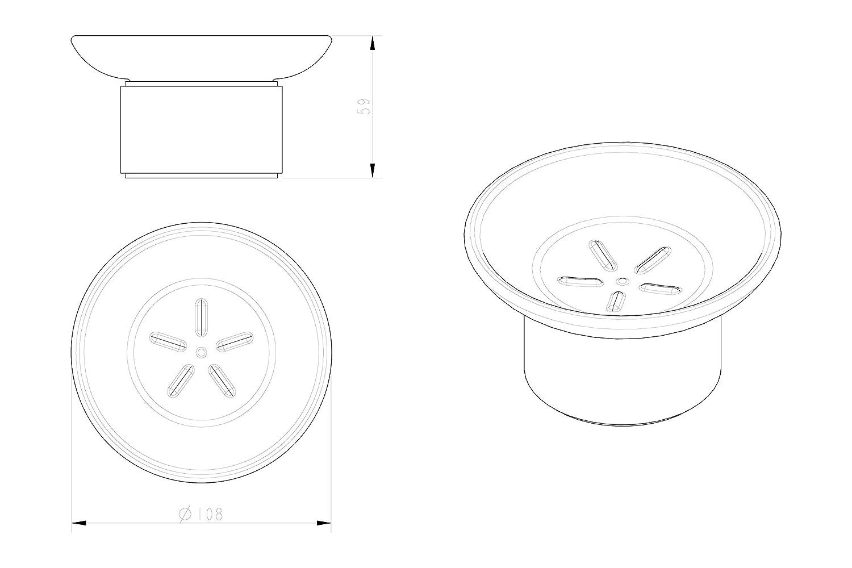 Ambrosya/® Porta Sapone Esclusivo Realizzato in Acciaio Inox Acciaio Inossidabile Spazzolato Bagno Porta Bicchiere Piatto Sapone Portasapone WC