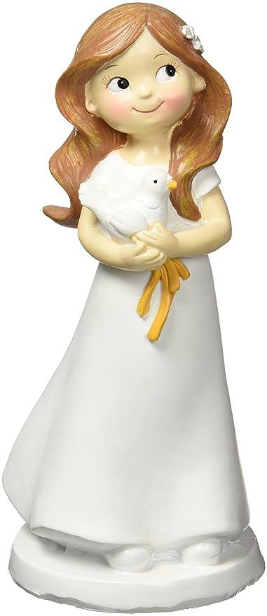 Mopec Figura de Pastel para Comunión de Niña y Paloma, Poliresina ...