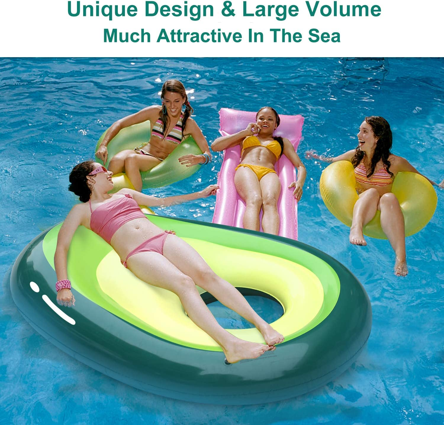 Tobeape Giant Inflatable Avocado Pool Float Floatie, Outdoor Water Lounge, Beach Swimming Floaty Party Toys for Adults Kids