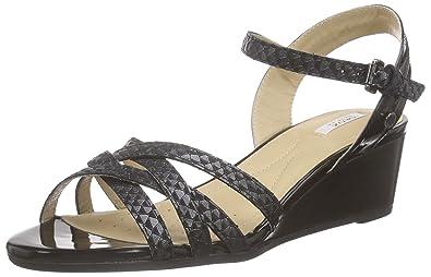 Geox D Lupe E, Women's Wedge Heel Open Sandals, Black