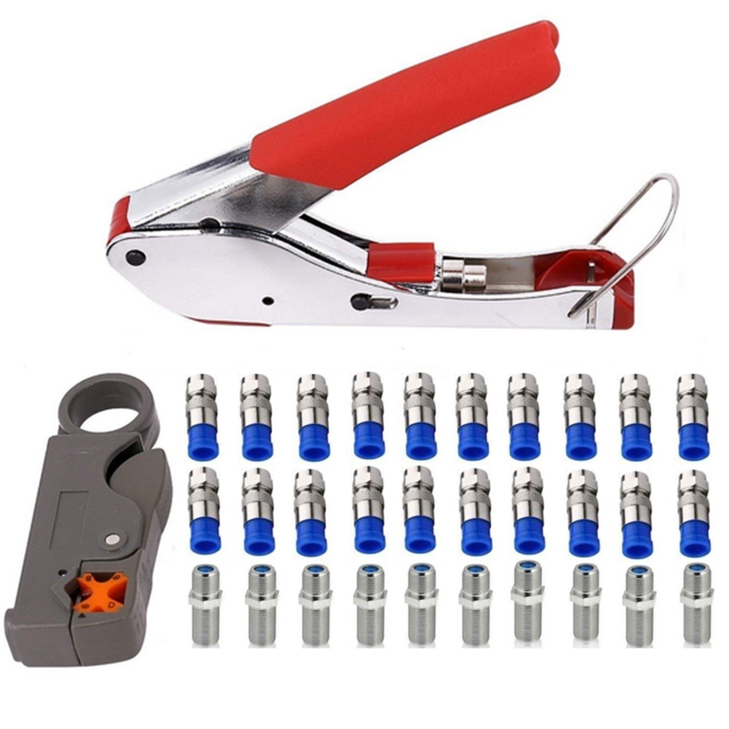 Coax Crimper Tool Kit Coaxial Compression Stripping Tool Cable Wire Stripper with 20 PCS F Male and 10 PCS Female to Female RG6 Connectors