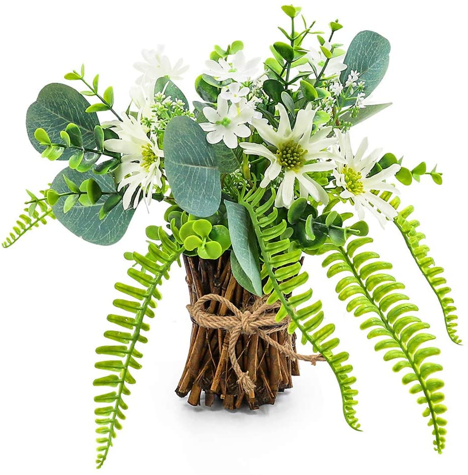 Artificial Flower Arrangement Fake Plastic Plant Bouquet Mini Bunch Bundle With Bamboo Wood Stems Rosemary Eucalyptus Boston Fern Daisies Greenery Decoration For Wedding Centerpiece Spring Party Home Kitchen