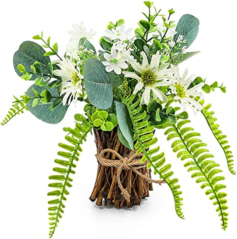 Amazon Com Artificial Flower Arrangement Fake Plastic Plant Bouquet Mini Bunch Bundle With Bamboo Wood Stems Rosemary Eucalyptus Boston Fern Daisies Greenery Decoration For Wedding Centerpiece Spring Party Home Kitchen