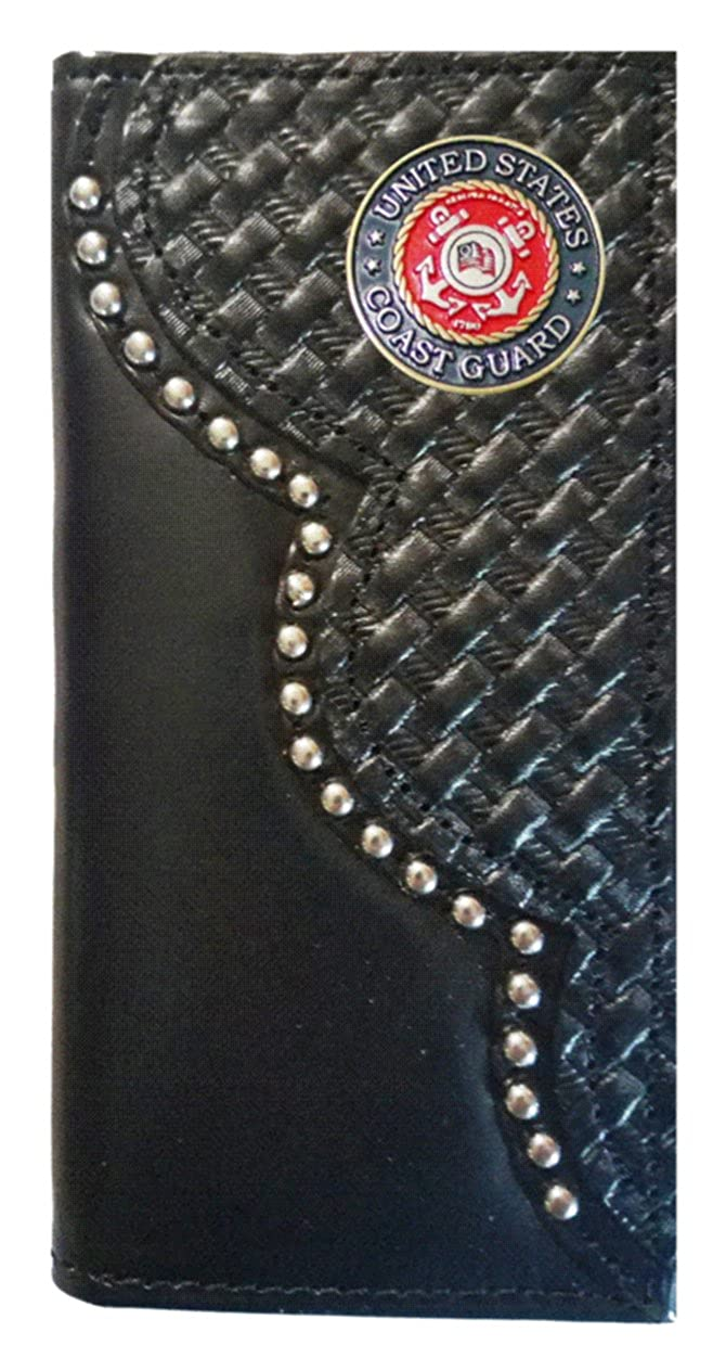 Custom Black United States Coast Guard Basket Weave Long Leather Checkbook Wallet Proudly MADE IN THE USA