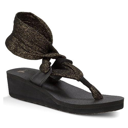 Sanuk Yoga de la mujer slinglet cuña sandalias metálicas ...