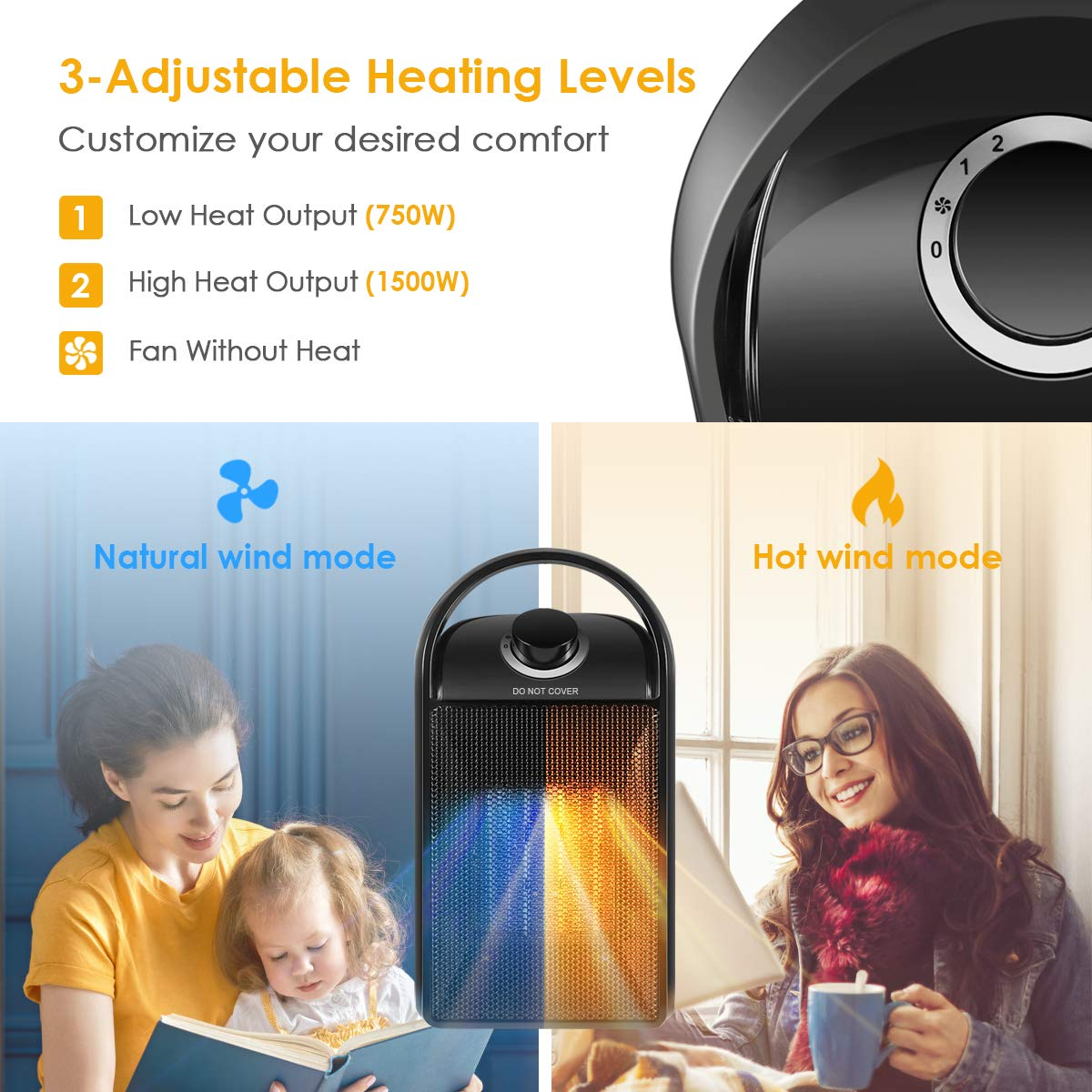 Electric Heater Fast Heating Fan with Auto Shut Off Portable with Adjustable Thermostat for Home Bedroom Personal Desk Heaters for Office Space Heater