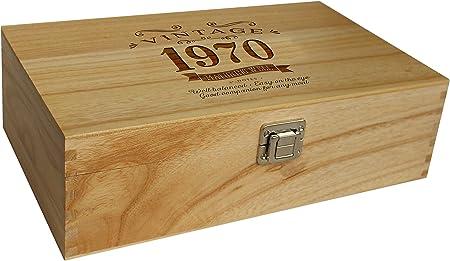 Caja de vino vintage para 50 años de edad, idea de regalo para 2 botellas de vino estándar: Amazon.es: Hogar