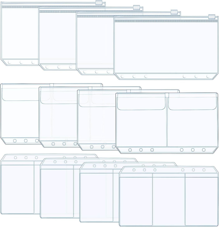 Jdesun 12 Piezas de A6 Carpetas de Bolsillos,Bolsa de Tarjeta Documentos Almacenamiento Relleno de Cuaderno con 6 Orificios en 3 Estilos