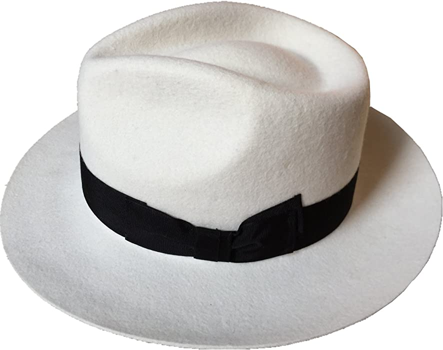 1e3d1bce7577a White Wool Felt Fedora Hat Diamond Crown (S  55cm(6 7 8)) at Amazon ...