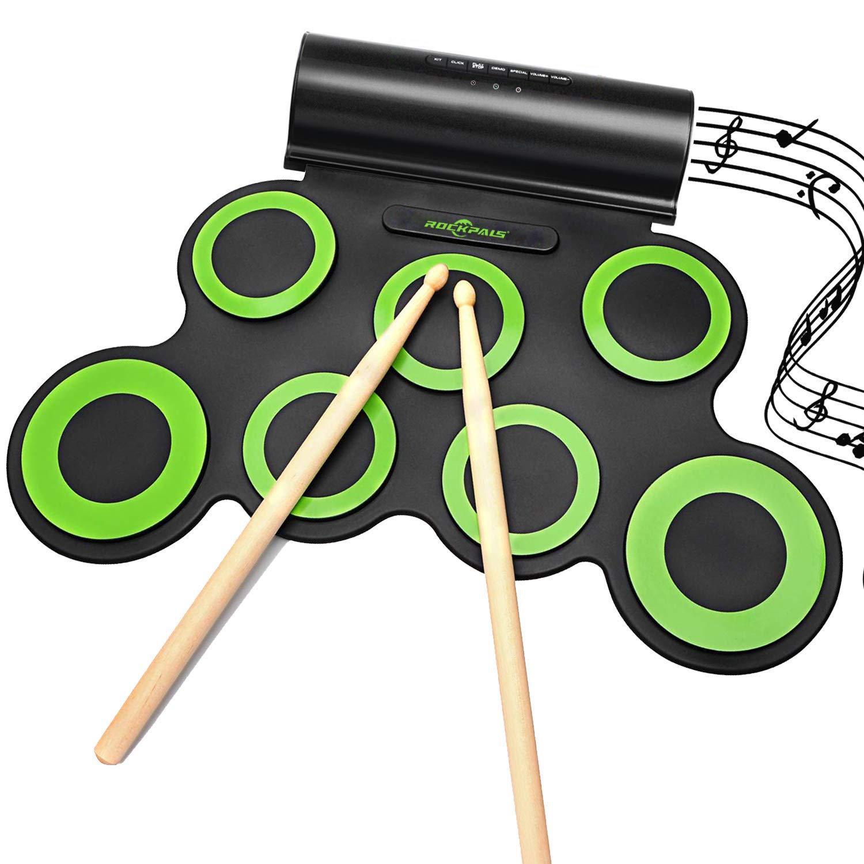 Rockpals fino a 10 pezzi Gioco batteria Roll Up Midi con cuffie e pedali e bacchette per tamburo integrati regalo di Natale per bambini. Set batteria elettronica