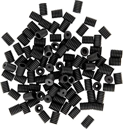 100 Pack, Black Cord Locks Elastic Cord Adjuster Non Slip Stopper Buckle Accessories Flat Elastic Silicone Buckle Toggles for Drawstrings