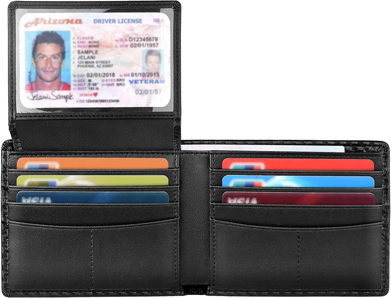 Wallet for Men-Bifold Slim Wallets Front Pocket Wallet With Effective RFID Blocking & 2 ID Windows