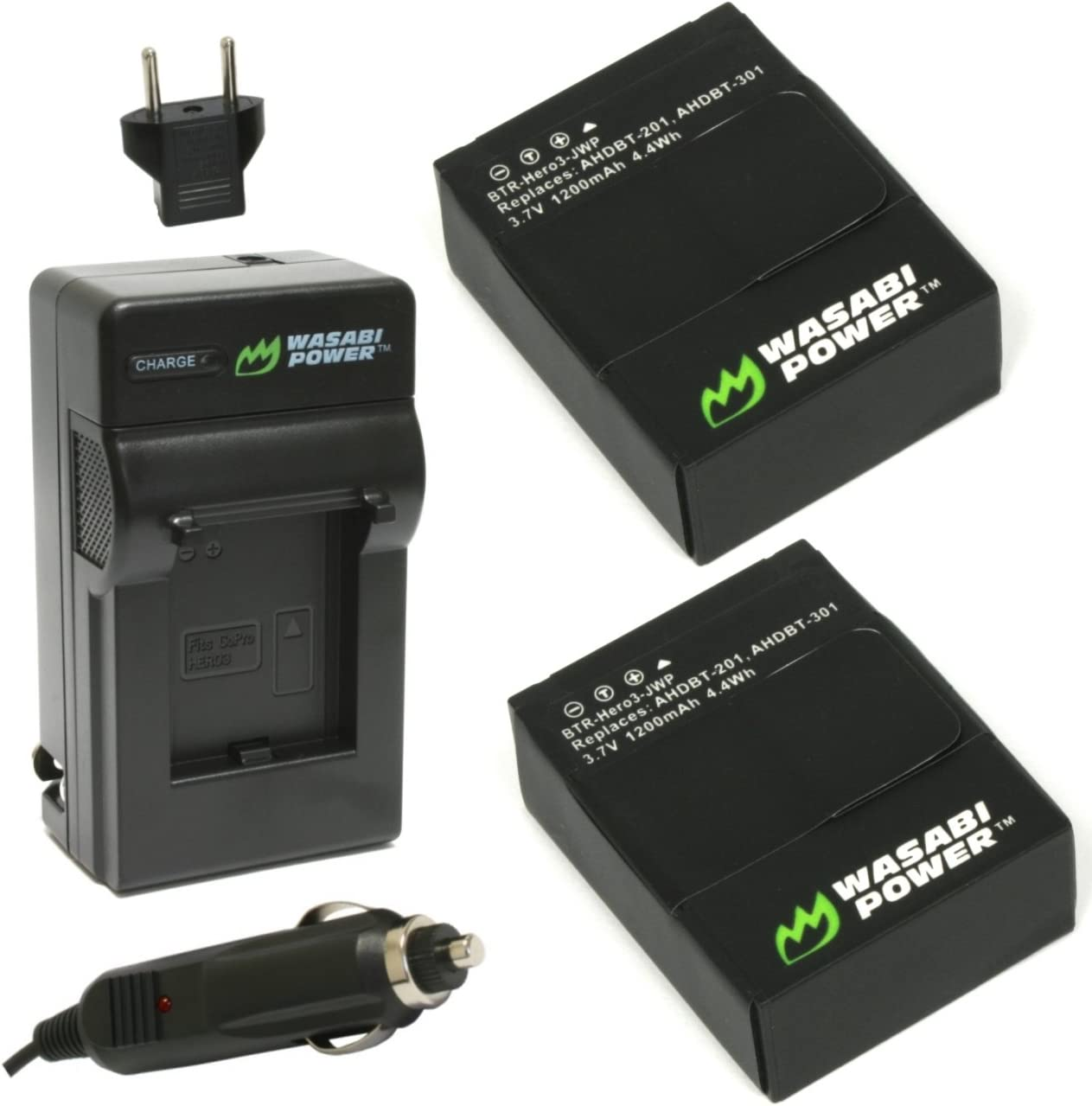 AHDBT-301 and Charger for GoPro HERO3+ 2-Pack Wasabi Power Battery AHDBT-302 HERO3 and GoPro AHDBT-201