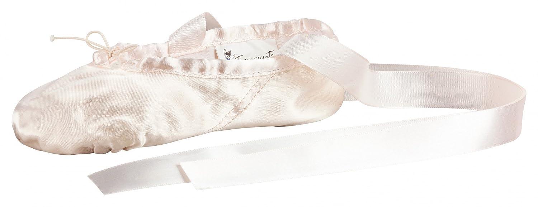Zapatillas de ballet - Satén, suela partida de cuero - Rosa tanzmuster