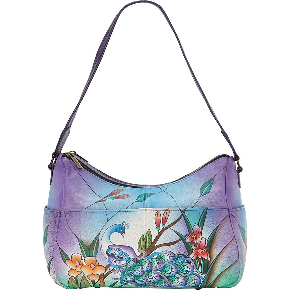 Anuschka Handpainted Leather Twin Top East West Hobo, Midnight Peacock