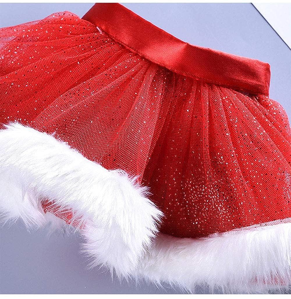 Jimmackey 2pcs Neonata Bambine Natale Balletto Tutu Paillettes Netto Filato Gonna Principessa Partito Abito Cerchio dei Capelli Set