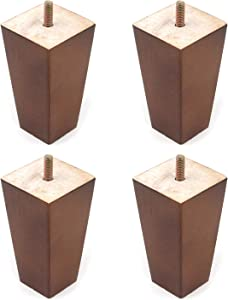 "Tulead Furniture Legs Wooden Couch Feet Square Cabinet Legs 2.32""x1.54""x3.94"" for Wardrobe Dresser Bookcase Closet Bed,4PCS with Mounting Screws"