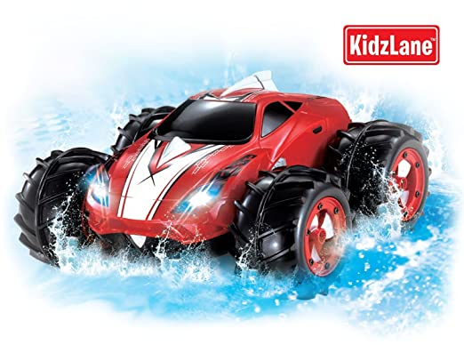 amazoncom powerful amphibious remote control car drives on land water 200 ft control range 360 degree spins led headlights red car toys games
