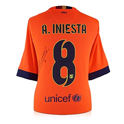 58a92b5e Image Unavailable. Image not available for. Color: Andres Iniesta Signed  2014-15 Barcelona Away Jersey ...